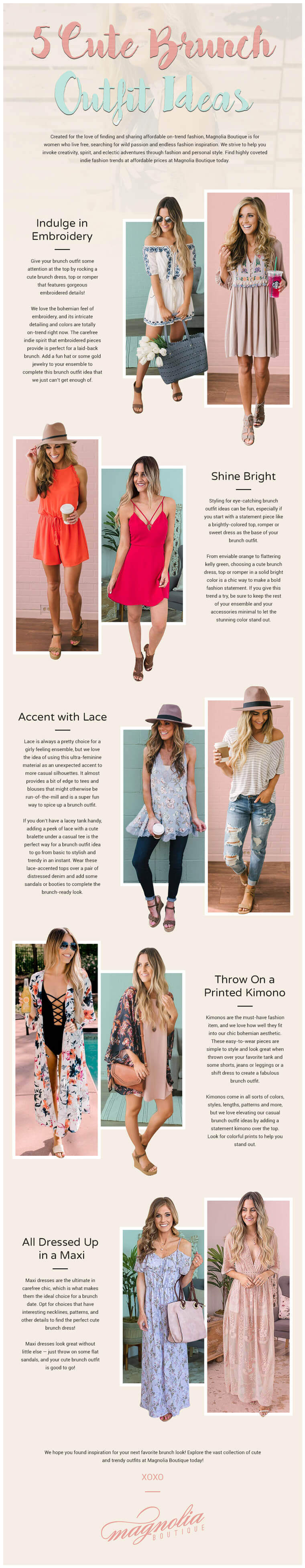 5 Cute Brunch Outfit Ideas infographic