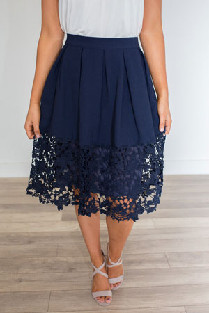 navy blue lace skirt