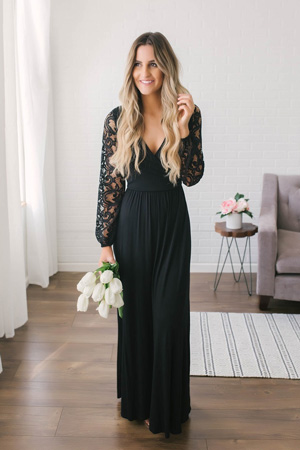 black maxi with lace sleeves