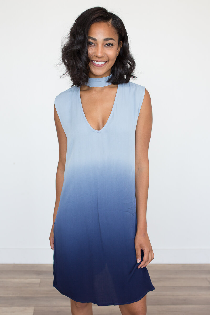 ombre blue dress