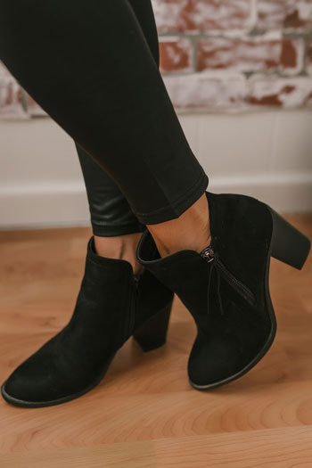 sfaux suede booties with a zipper