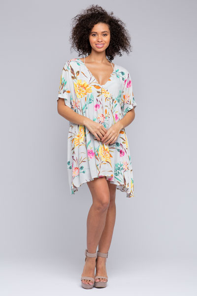 v-neck bump-friendly, non-maternity babydoll dress