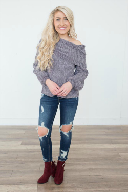 red boots and grey sweater