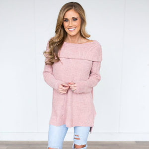 girl in pink sweater