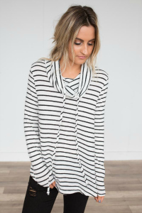 black and white striped turtle neck