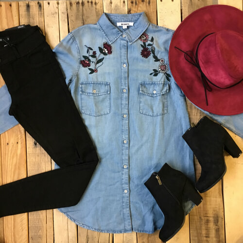 denim top outfit idea