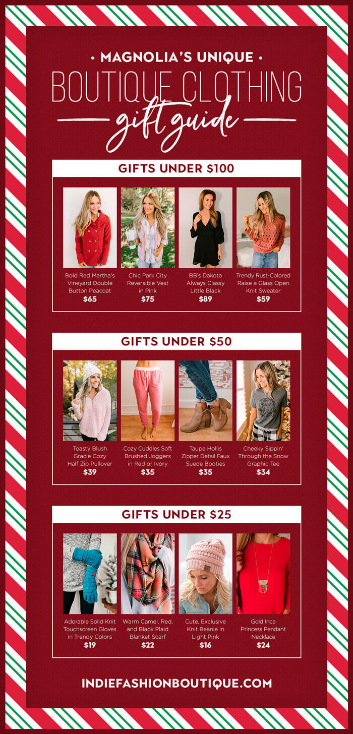 magnolia boutiques unique clothing gift guide Infographic