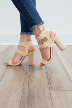 Cute nude sandals with a chunky heel