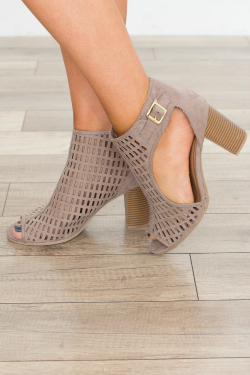 Cute gray suede booties with cutouts and a peep toe