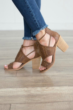 Brown sandals with chunky stacked heel