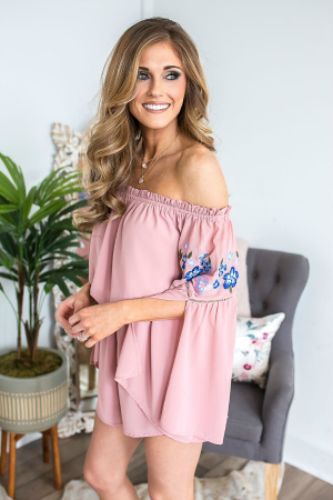 Cute blush embroidered romper