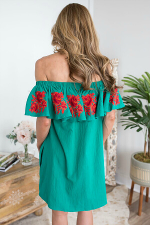 Back of embroidered teal off-the-shoulder dress