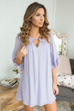 Lavender flowy shift dress with lacy detail