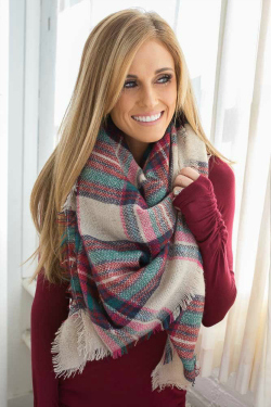 girl in plaid scarf