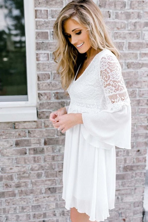 short, lacy white dress