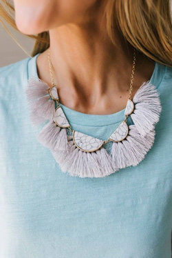 ruffle and stone statement necklace
