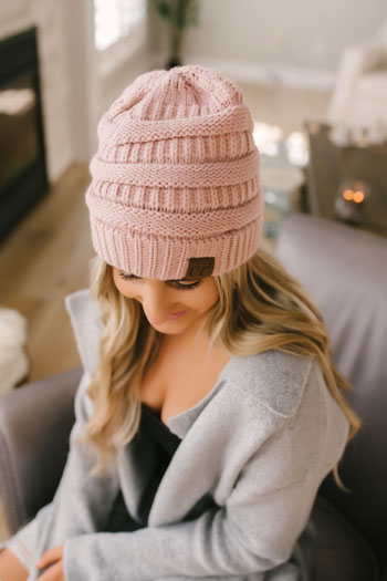 casual winter knit beanie
