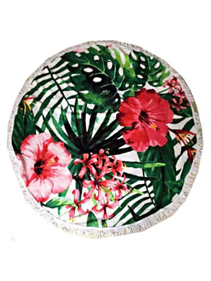 round beach towel with tropical flowers
