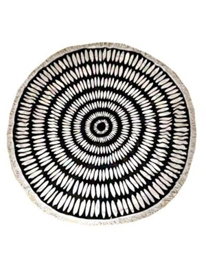 round black and tan boho beach towel