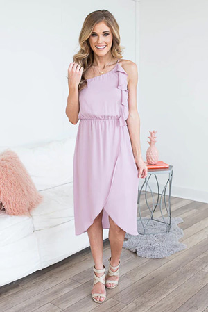 soft purple midi dress with ruffles