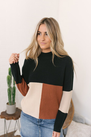 rust/black/natural colorblock sweater