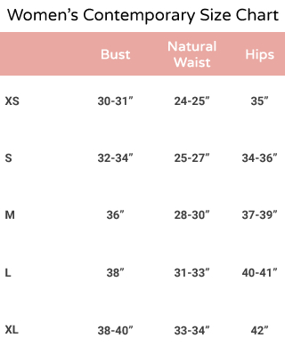 clothing size chart for women
