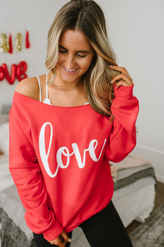 love off-shoulder sweater