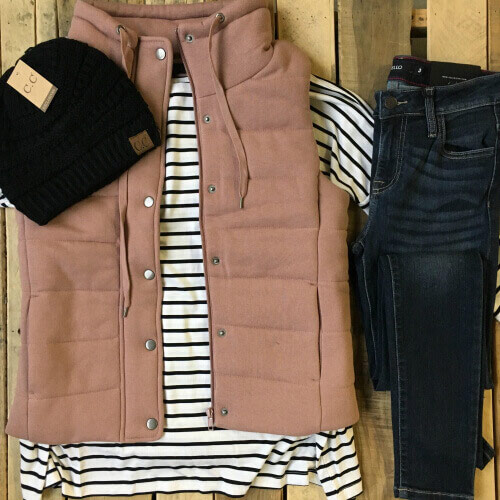 winter outfit with mauve vest