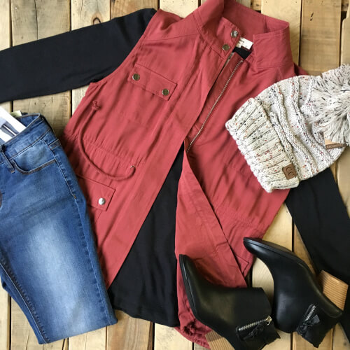 Magnolia Boutique cute winter outfit with red vest